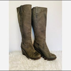 FRYE Paige Wedge Tall Boots Taupe Women's size 7.5
